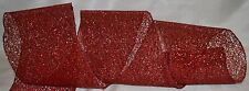 """Wired Ribbon~Jazz Holiday Red Sparkle Mesh~6"""" Wide~Christmas~Wreath~Gift~Bow"""