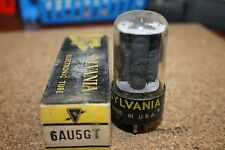PAIR (QTY 2) 6AU5GT SYLVANIA VINTAGE TUBES WITH BLACK PLATES - NOS IN BOXES