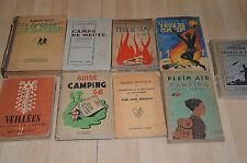 lot 9 livres anciens 100% scoutisme / manuels livrets sur le camping, les camps
