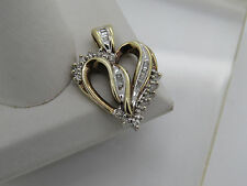 10k Yellow White Gold Round Baguette Diamond Cluster Swirl Heart Necklace Pendan