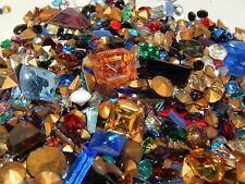 225 VTG Assorted Glass Rhinestones & Cabochons Loose Mix Jewelry Craft Repair!