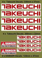 TAKEUCHI Decals Stickers x 8 for Mini Digger Excavator Pelle Bagger