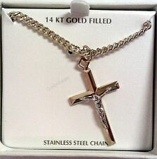 "Men's 14K Gold and Rhodium Religious Crucifix Cross Pendant w 24"" Chain-NEW"