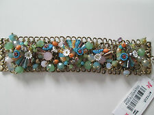 NWT Auth Betsey Johnson Weave & Sew Multicolor Beaded Statement Bracelet $125