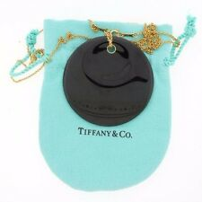 "Rare Tiffany Co Elsa Peretti 18k Round Onyx Pendant Necklace 2"" 28"" w Bag NG263"