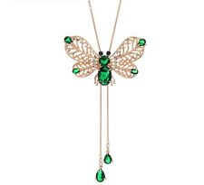 Long Chain Butterfly Green Zircon Emerald Rose Gold Plated Pendant Necklace