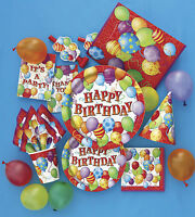 Happy Birthday Party Tableware, Balloon Design, Plates, Cups, Napkins, Balloon.