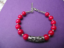 SILVER TONE METAL BRACELET WITH FILIGREE PIERCED TUBE & BRIGHT RED BEADS
