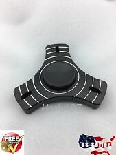 Stainless Steel Thick STRIPED Hand Spinner Tri Fidget Desk Toy EDC Stocking ADHD