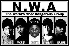 "NWA- Ice Cube Dr Dre Gangsta Rap Star Silk Cloth Poster 20 x 13"" Decor 01"