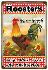 Country Roosters Farm Fresh Eggs Milk And Vegetables Farmers Sign