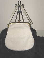 VTG ESTATE CORDE'-BEAD MID CENTURY BEADED HANDBAG MIRROR RHINESTONE ACCENTS