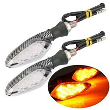 Pair 16LED Motorcycle Turn Signal Amber Light Carbon ABS Indicator Lamp F6