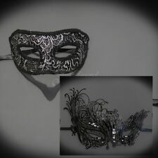 Couples Masquerade Mask, His & Hers Set, Venetian Ball Mask Black M3182, M7139