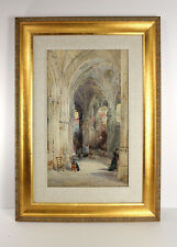 Original 1800s ERNEST GEORGE WATERCOLOR St.Pierre Church, Caen SIGNED Framed COA