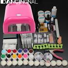 Full Pro 36W Cure Lamp Dryer + 12 Color UV Gel Nail Art Tips Tools Kit Set New