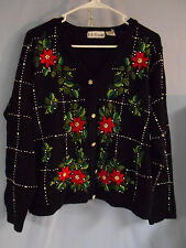 WOMENTS UGLY CHRISTMAS HOLIDAY SWEATER CARDIGAN BLACK POINSETTIAS GOLD Small XL