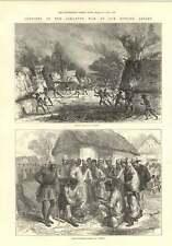 1874 soldados nativos jugando Warry la configuración de fuego a un pueblo