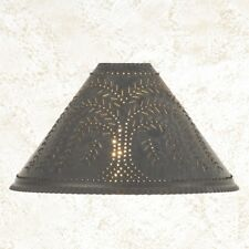 primitive handcrafted blacken TIN punched WILLOW oil lamp shade / nice