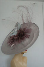 STUNNING ONE OFF LARGE FASCINATOR WITH CRYSTAL SHOE SILVER LILAC & HEATHER