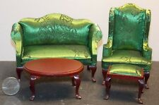 Dollhouse Miniature Queen Anne Brocade Green Living Room Sofa Set 1:12 scale G5