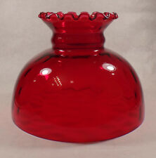 "10"" Glass Ruby Dot Optic Student Oil Lamp Shade Crimped Top fits Aladdin #SH075R"