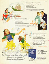 1950s vintage AD IVORY SNOW Dish Soap Fine Washables cute 40s Cartoon  -120514