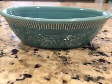 Vintage Turquoise Oven Serve Patterned Pottery Dish Bowl Homer Laughlin