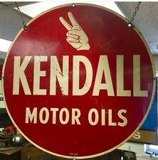 "Vintage Kendall Motor Oil Sign,Double Sided,1950's-60's,24"",curb Sign"