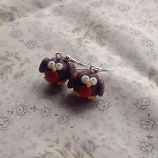 robbin earrings Christmas Xmas Drops Festive Party Bird Winter Cute fimo