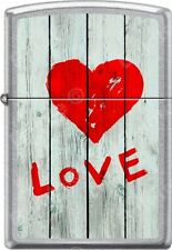 Zippo Love Heart Graffti On Grey Wooden Fence Street Chrome WindProof Lighter