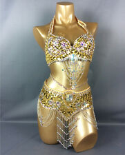 B & D CUP handmade bead Belly Dance Costume Outfit Set Bra Belt Carnival 2PCS
