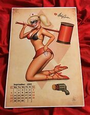 HARLEY QUINN~CALENDAR PIN UP GIRLS~ART PRINT~SIGNED NATHAN SZERDY~JOKER TATTOO