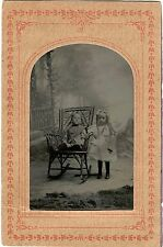 ANTIQUE TINTYPE PHOTO PORTRAIT OF BOY AND GIRL - BROTHER AND SISTER