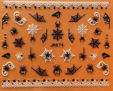Nail Art 3D Decal Stickers Halloween Spider Web JH074