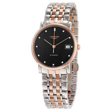 Longines Elegant Black Diamond Dial Steel and 18K Rose Gold Automatic Ladies
