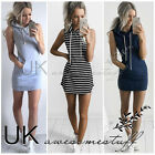UK Womens Slim Bodycon Clubwear Bandage Mini Dress Ladies Hoodie Tops Size 6-14