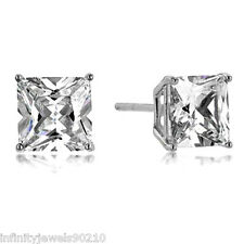 1.5 Carat Screw back Princess cut simulated Diamond Stud EARRINGS 14KT GOLD
