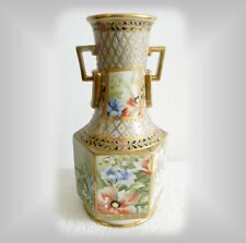 Nippon hand painted vintage vase with heavy giold and beading - FREE SHIPPING