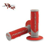 Pro Grip Progrip 801 Grips Grey Red Enduro Motocross Half Waffle Soft Density