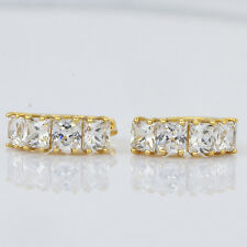 womens safety cute clear crystal hoop earrings 18k gold filled huggie