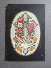ANTIQUE Christmas Card Cross with Floral Spray Behold I Bring You Good Tidings