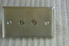 Single Gang Wall Plate with BNC Female Barrels Stainless Steel