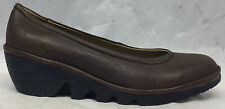 NEW Fly London Size 38 EU 7.5 - 8 US Womens Pump Brown Leather Wedge Shoes