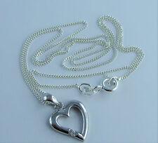 Echt 925 Sterling Silber Herz Anhänger Zirkonia mit Kette Halskette Kinderkette