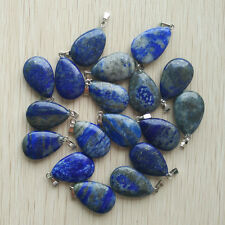 Wholesale 24pcs/lot Natural lapis lazuli flat Water drop Charms Pendants Beads