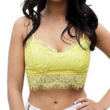ROPALIA Yellow Lace Floral Unpadded Bra Bralet Bustier Crop Top Size: UK 8 BNWT