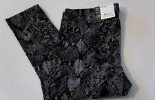 Hue Leggings Sz S Black Multi Python Print Cotton Blend Legging EDV U14786