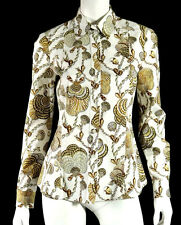 GUCCI White & Brown Seashell Print Cotton Poplin Button-Front Blouse 44