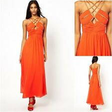 Little Mistress Embellished Cut Out Chiffon Maxi Dress Prom Party  Orange UK 10